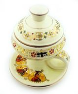 Ceramic Incense Burner with Top,  Cream
