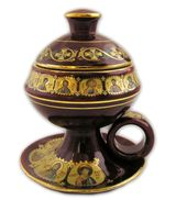 Ceramic Incense Burner with Top, Maroon