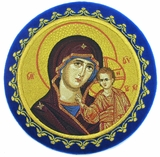Chalice Cover  Disc  with Image of Virgin of Kazan