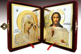 Christ Almighty and Virgin of Kazan Traveling Wedding Icon Diptych