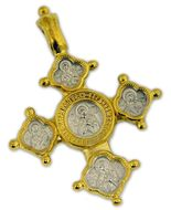Christ Almighty, Virgin of Vladimir and Saints,    Reversible Cross with Chain