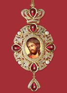 Christ Bridegroom, Panagia Style Icon Ornament / Red Crystals