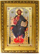 Christ Enthroned, Orthodox Gold Framed Icon with Crystals and Glass