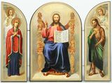 Christ Enthroned, Orthodox Gold and Silver Foil Triptych Icon