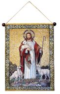 Christ The Good Shepherd, Hanging Tapestry Icon Banner