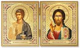 Christ Pantocrator & Guardian Angel Diptych, Silver and Gold Foil