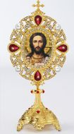 Christ the Teacher Icon in Pearl Jeweled Shrine - Monstrance Style