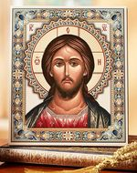 Christ Pantocrator, Embossed Icon Printed on Leatherette