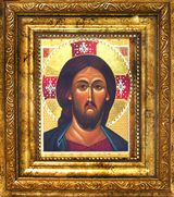 Christ  Pantocrator, Orthodox Gold Framed Icon with Crystals and Glass