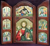 Christ The Teacher  and Festal Icons, Serigraph Orthodox Triptych