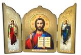 Christ The Teacher / Archangels Michael and Gabriel, Gold Foil Triptych