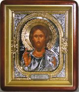 Christ the Teacher, Christian Orthodox Icon with Metal Oklad in Wood Kiot.