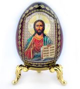 """Christ The Teacher, Decoupage Icon Egg  w/Gold Stand, 3"""""""