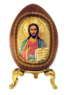 Christ The Teacher, Decoupage Icon Egg  w/Gold Stand, Small