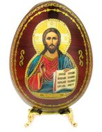 Christ The Teacher, Decoupage Icon Egg with Stand