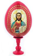 Christ The Teacher,  Decoupage Icon Egg with Stand, Red