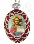 Christ The Teacher, Egg Shaped Ornament Icon, Red