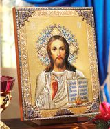 Christ the Teacher, Gold Foil Embossed Orthodox Icon