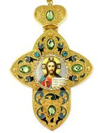 Christ The Teacher, Faberge Style Framed Cross With Icon