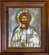 Christ The Teacher, Hand Painted Orthodox Icon in Silver Oklad