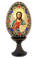 Christ the Teacher, Wooden Icon Egg with Stand