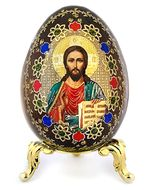 Christ the Teacher, Wooden Icon Egg on Metal Stand