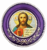 Christ The Teacher   Icon in Round Style Frame with Stand
