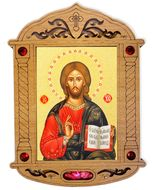 Christ The Teacher Icon in Wooden Shrine with Glass and Incense