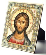 Christ Pantocrator, Embossed Icon Printed on Leather