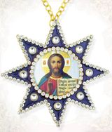 Christ the Teacher, Ornament Icon Pendant with Chain, Blue