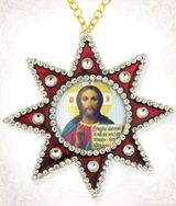 Christ the Teacher, Ornament Icon Pendant with Chain, Red