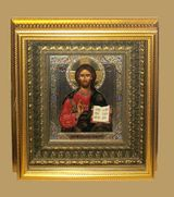 Christ the Teacher, Orthodox Icon with Crystals in Gold Kiot