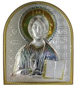 Christ the Teacher, Orthodox Icon with Silver Crystals,  from  Greece/Italy