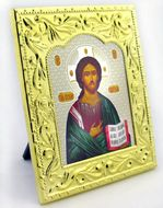 Christ The Teacher, Orthodox Riza Framed Icon with Stand