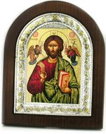 Christ The Teacher, Orthodox  Silver Silk Screen Framed Icon