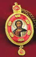Christ The Teacher, Oval Shaped Framed Icon Ornament with Crystals & Chain