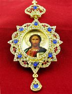 Christ The Teacher, Panagia Style Icon Ornament With Stones and Chain