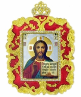 Christ the Teacher, Square Shaped Ornament Icon Pendant, Red