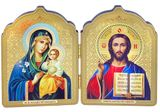 Christ The Teacher and Virgin Mary Eternal Bloom Icon Diptych