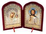 Christ the Teacher / Virgin of Kazan,  Icon Diptych in Velvet Case