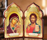 Christ The Teacher and Virgin of Kazan,  Classic Wooden Diptych