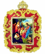 Christ with Children, Ornament Icon, Red