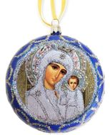 Virgin  of Kazan, Not Breakable  Christmas Ornament, Blue