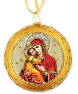 Virgin of Vladimir,  Not Breakable Christmas Ornament, Yellow