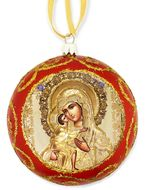 Virgin Mary Feodorovskaya, Not Breakable Christmas Ornament, Red
