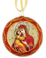 Virgin of Vladimir,  Not Breakable Christmas Ornament, Red