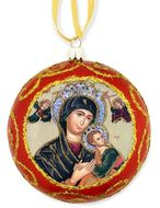 Virgin Mary Perpetual Help, Not Breakable  Christmas Ornament, Red