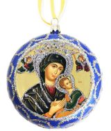 Virgin Mary Perpetual Help, Not Breakable Christmas Ornament, Blue