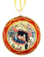 """Nativity"", Not Breakable Christmas  Ornament, Red"
