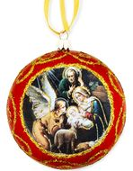 The Holy Family, Not Breakable Christmas  Ornament, Red